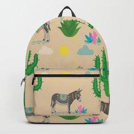 Cute donkey,cactus plants pattern,beige background  Backpack