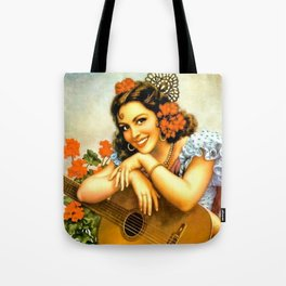 Mexican Calendar Girl with Guitar by Jesus Helguera Tote Bag