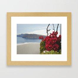 Santorini In Bloom Framed Art Print