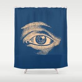 Retro Vintage Blue Eye Pattern Shower Curtain