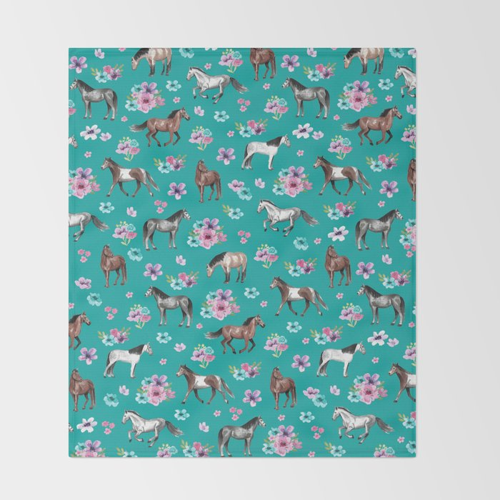 Horse Pattern, Floral Print, Turquoise, Little Girls Room, Horses Throw Blanket