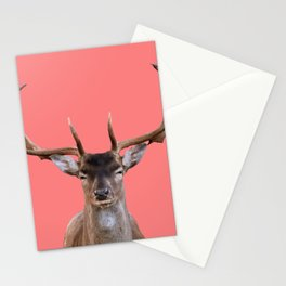 Reindeer Head - coral Background Stationery Cards