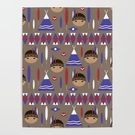 Seamless kids cute American indian native retro background pattern Poster