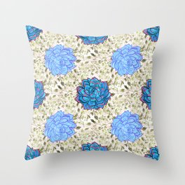 Beautiful Blue Succulent Pattern Throw Pillow