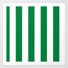 Classic Cabana Stripes in White + Kelly Green Art Print