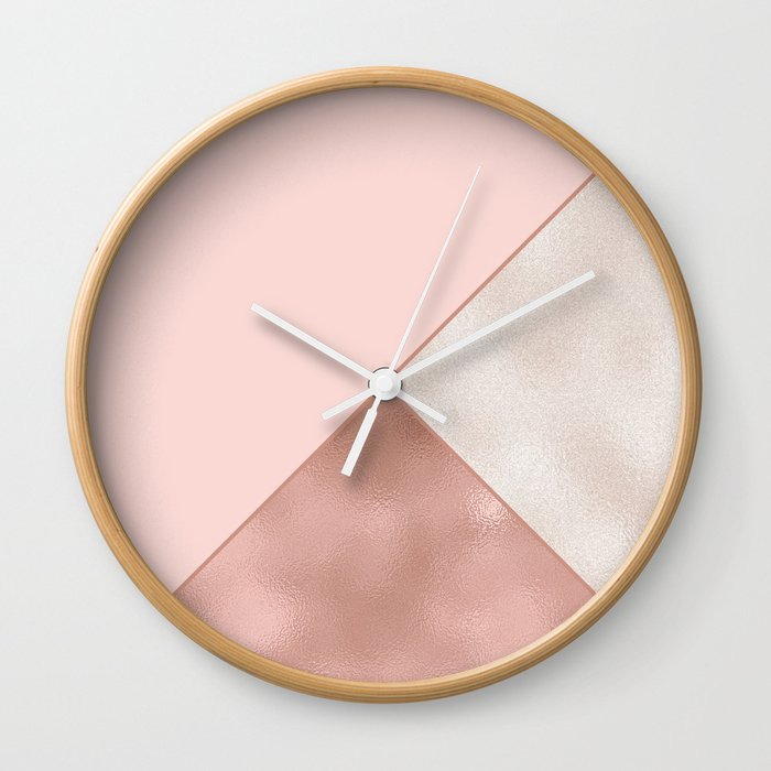 Luxury Glamorous Rose Gold Metallic Glitter Wall Clock By Peladesign