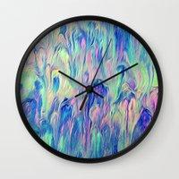 northern lights Wall Clocks featuring Northern Lights by Meg O Studio