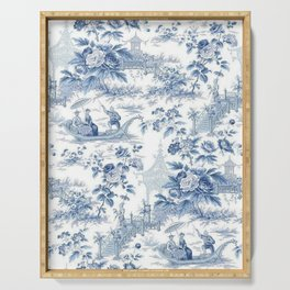 Powder Blue Chinoiserie Toile Serving Tray