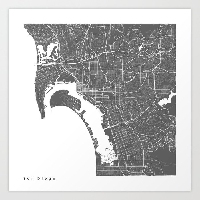 San Diego USA Modern Map Art Print Art Print by myplaceprints | Society6