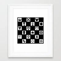 kingdom hearts Framed Art Prints featuring Kingdom Hearts Grid by KewlZidane