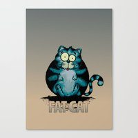 fat Canvas Prints featuring Fat Cat by mangulica