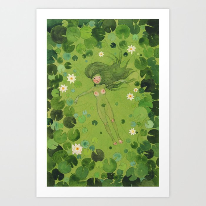 Dryad with Lilies Art Print
