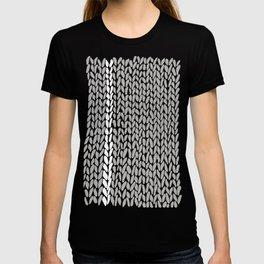 Grey Knit With White Stripe T-shirt