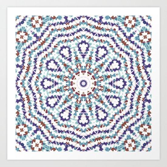 White, brown , blue kaleidoscope . Art Print