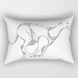 Greyhound Running Doodle Art Rectangular Pillow