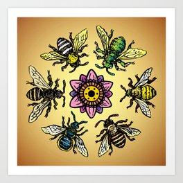 Six Bees Art Print