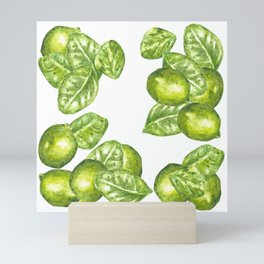 Watercolor Limes and Leaves Mini Art Print