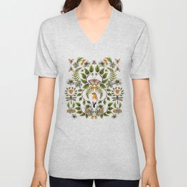 Spring Reflection - Floral/Botanical Pattern w/ Birds, Moths, Dragonflies & Flowers Unisex V-Neck