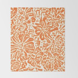 Marigold Lino Cut, Tangerine Orange Throw Blanket