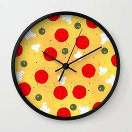 Cool fun pizza pepperoni mushroom Wall Clock