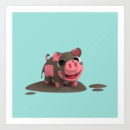 Rosa the Pig loves Mud Art Print