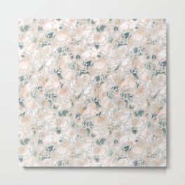 Watercolor Floral Papercut Gray Green Metal Print
