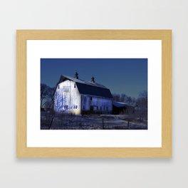 White Barn Framed Art Print