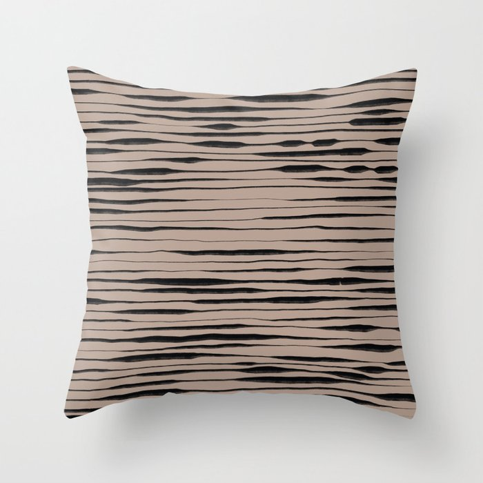 Hand Painted Lines / Dark Beige Throw Pillow