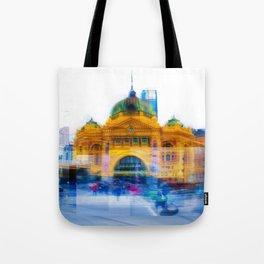 Flinders Street Photo Montage Tote Bag