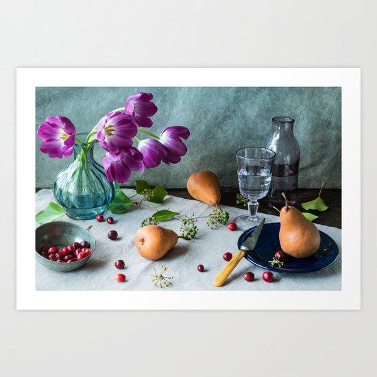 Still Life with Purple Tulips Art Print
