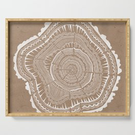 Tree Rings – White Ink on Kraft Serving Tray