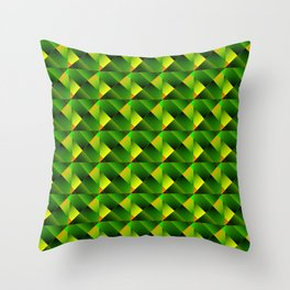 Pyramids of bright green squares and triangles in yellow. Throw Pillow