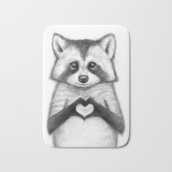 raccoon with heart Bath Mat