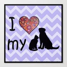 I heart my dog & cat Canvas Print