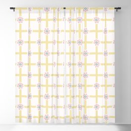 1950s Style Flower Daisy Gingham Seamless Pattern Blackout Curtain