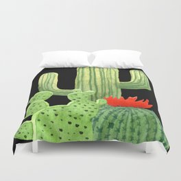 Perfect Cactus Bunch on Black Duvet Cover