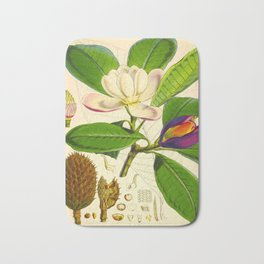Vintage Botanical Scientific Flower Illustration White Flower Green Leaves Bath Mat