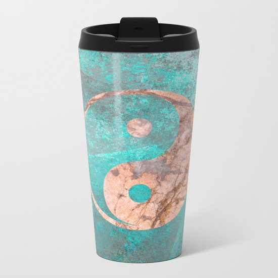 Yin Yang - Rose Turquoise Marble Metal Travel Mug