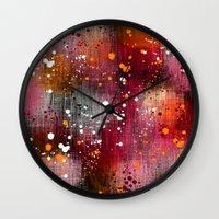 splatter Wall Clocks featuring Splatter by KRArtwork