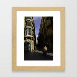 Tourists near La Rambla Framed Art Print