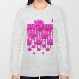 ABSTRACTED  PINK ROSES GARDEN ART Long Sleeve T-shirt
