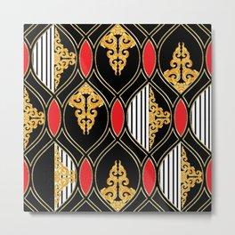 Vintage pattern with Luxury Baroque hand drawn illustration pattnern, dark background. Retro abstract geometric design, elegent, luxury Metal Print