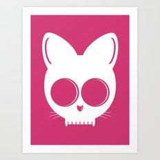 Skull Cat Pink Art Print