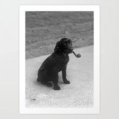 Pipe puffing dog. Art Print