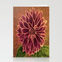 dahlia Stationery Cards featuring Dahlia  by maggs326