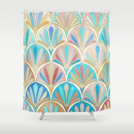 Vintage Twenties Art Deco Pastel Pattern Shower Curtain