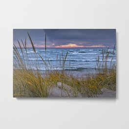 Sunset Photograph of a Dune with Beach Grass at Holland Michigan No 0199 Metal Print