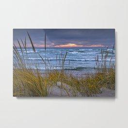 Sunset Photograph of a Dune with Beach Grass at Holland Michigan No 0199 Metal Print