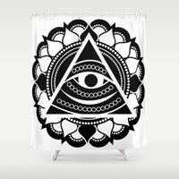 all seeing eye Shower Curtains featuring All Seeing Eye by Lonewolfdesign