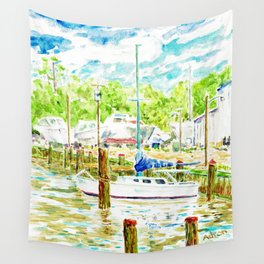 Watercolor of Boat at Dock in Tanger Sound MD Wall Tapestry